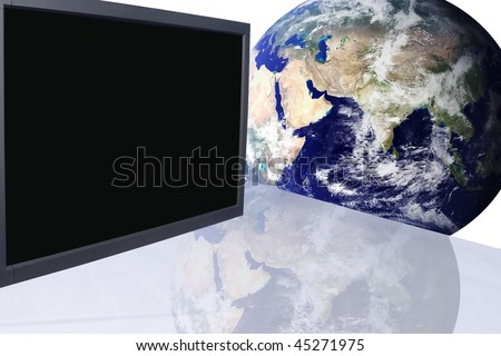 Conference room in office building with advanced communication equipment an globe