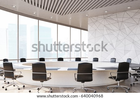 Conference room interior with a round table, black office chairs near it, a marble wall and a panoramic window. 3d rendering, mock up