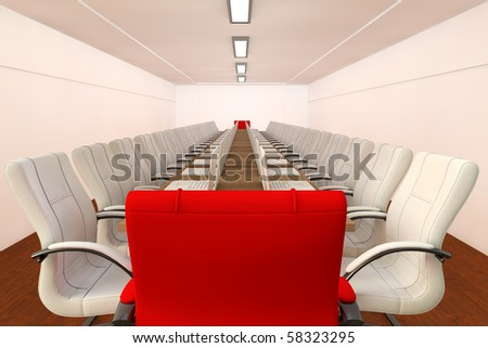 Conference room with empty white chairs and and one red chair - leadership concept
