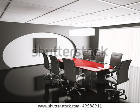 conference room with lcd and red table 3d render