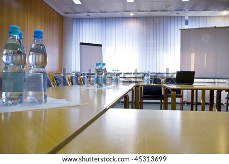 conference room with some bottle of water