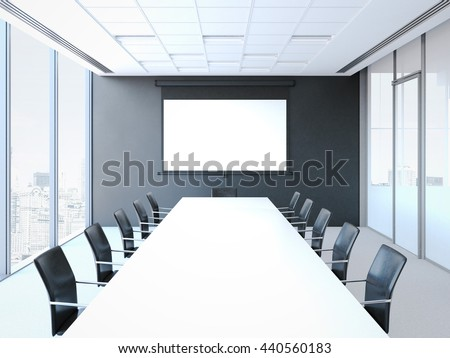 Conference room with white table, black chairs and projector screen. 3d rendering