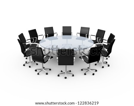 Conference round table and black office chairs in meeting room, isolated on white background.