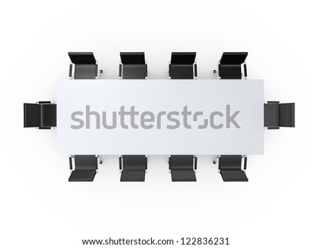 Conference table and black office chairs in meeting room, top view ...