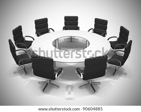 Conference table and chairs in meeting room. 3d render illustration