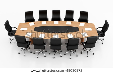 conference table and chairs with papers and pens - rendering - stock ...