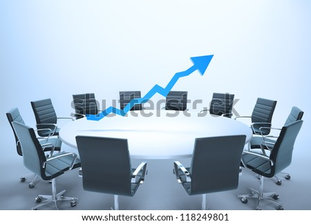 Conference table with a 3d chart - business outlook concept