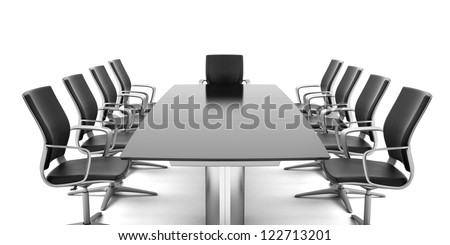 Conference Table with chairs isolated on a white background