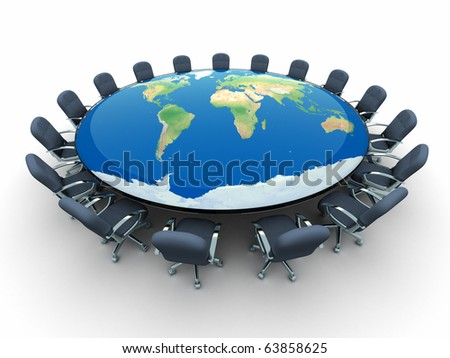 Conference table with world map - this is a 3d render illustration