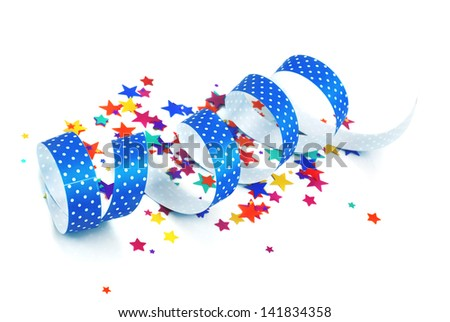 confetti and ribbon on white background