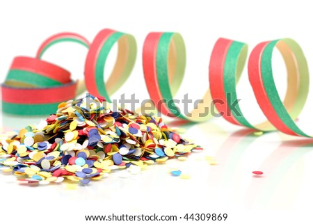 Confetti and streamers isolated on white background