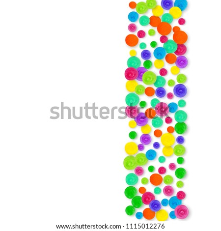 Confetti border on white background. Rainbow colored dots for birthday party. Isolated confetti border with happy mood splash. Abstract creative background. Hand drawn painted polka dot. #1115012276