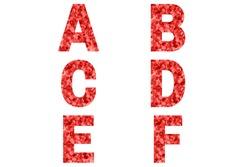 Confetti font Alphabet a, b, c, d, e, f made of red confetti background. Festive Alphabet.