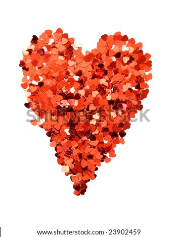 confetti hearts forming heart shape on white background