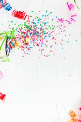 Confetti on a white background. Concept of the holiday