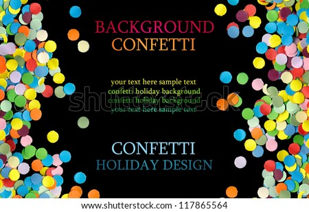 confetti on black background - stock photo