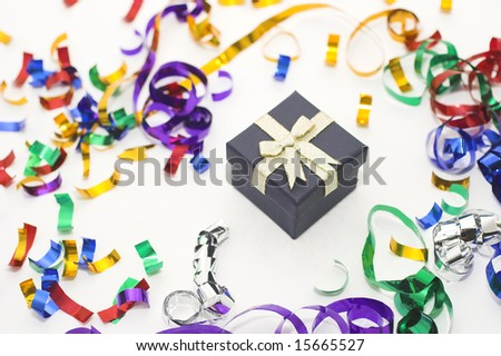 Confetti on white background.