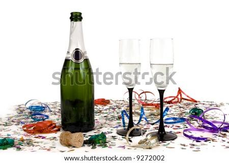 Confetti with champagne