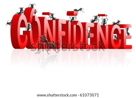 Confidence building self esteem and belief psychology red text with