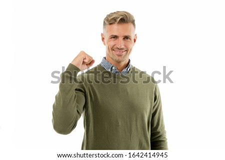Confidence is power. Confident man isolated on white. Handsome guy flex arm. Self confident. Confident look of fashion model. Fashion and style. Developing confident power.