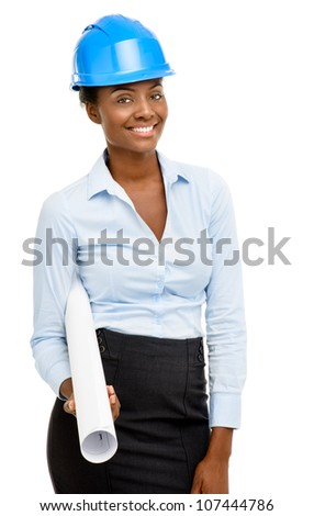 Confident African American woman architect smiling white background