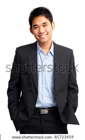 confident and friendly business man portrait - isolated over a white background #85723459