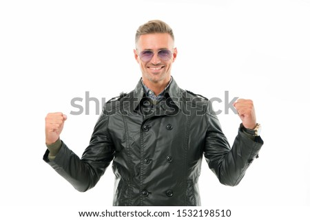 Confident and powerful. Confident man isolated on white. Happy guy demonstrate power. Confident look of fashion model. Warm clothing make him feel confident. Confidence and power.