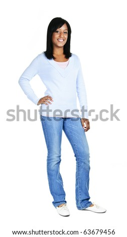 Confident black woman standing isolated on white background