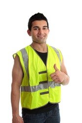 Confident builder,  handyman, tradesman, repairman, giving a thumbs up approval success gesture.   White background