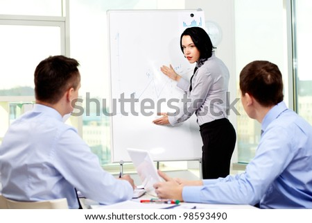 Confident business lady carrying out presentation of a business plan