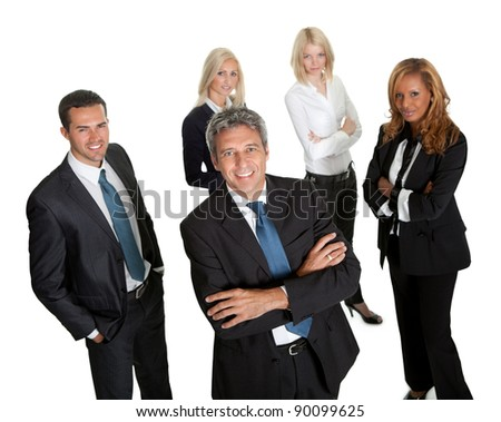 Confident business leader with his team in background on white