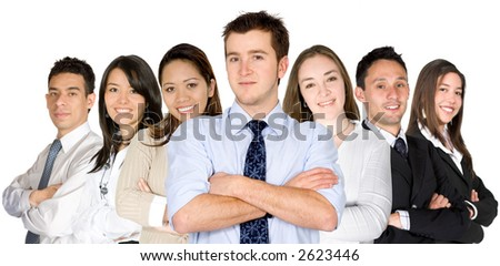 confident business man and his business team - group formed of people from all over the world - isolated