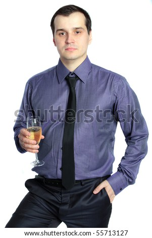 confident business man holding a glass of champagne isolated on white background. Series