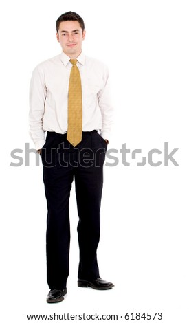 confident business man portrait standing - isolated over a white background