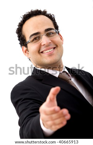 confident business man ready to hand shake isolated