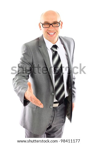 Confident business man ready to set a deal over white background - stock photo