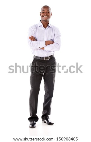 Confident business man smiling - isolated over a white background
