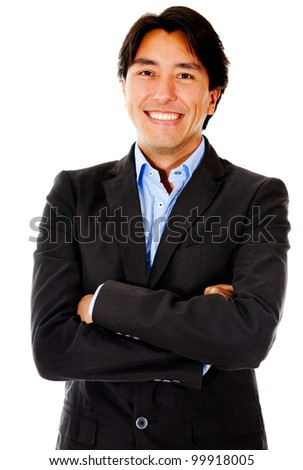 Confident business man with arms crossed - isolated over a white background - stock photo