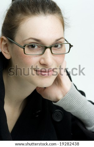 stock photo : Confident business woman or teen wearing glasses.