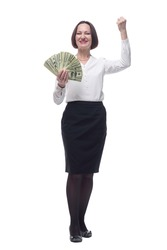 confident business woman showing a fan of banknotes.