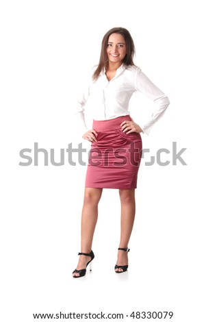 woman in winter clothes isolated over white background - stock photo