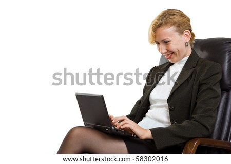 Confident business woman with laptop