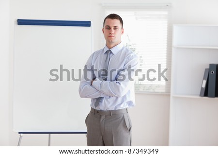 Confident businessman about to start his presentation