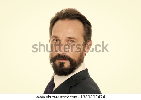 Confident businessman. Confident middle age man in formal wear look at camera. Bearded man. Businessman know how. Classy and handsome. Leadership with confidence. #1389605474