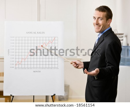 Confident businessman explaining financial analysis chart