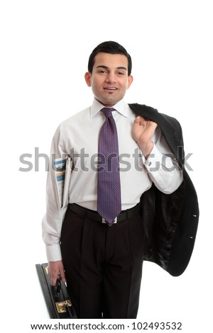 Confident businessman holding a briefcase in one hand, newspaper underarm and suit jacket slung over other  shoulder