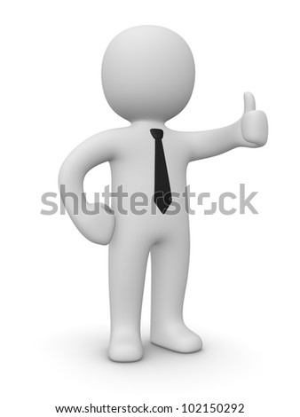 Confident businessman showing thumbs up sign
