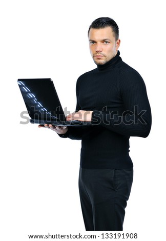 Confident businessman with notebook computer isolated on white