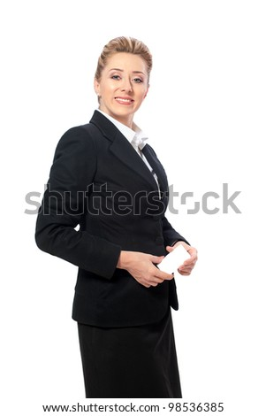 Confident businesswoman holding blank business card