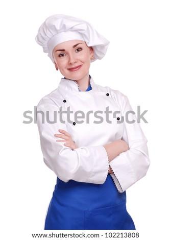 Confident chef woman in a white studio